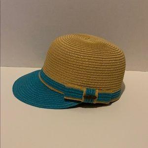 Papillon 100% paper Hat Tan/ blue accents & bow